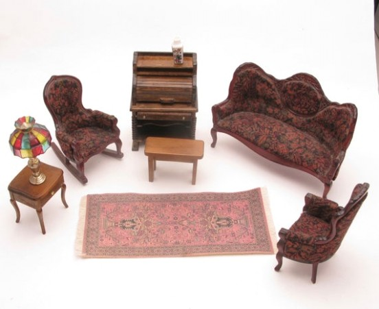 Dollhouse Living Room set with sofa, 21 chairs, rolltop desk, table and  lamp, rug - living room 2 chairs | living room 2 chairs