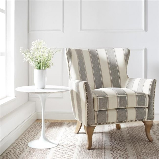 Dorel Living Reva Accent Chair, Living Room Armchairs, Gray Stripe -  Walmart | living room chairs