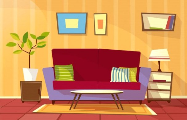 Download Cartoon Living Room Interior Background Template. Cozy .. | living room cartoon