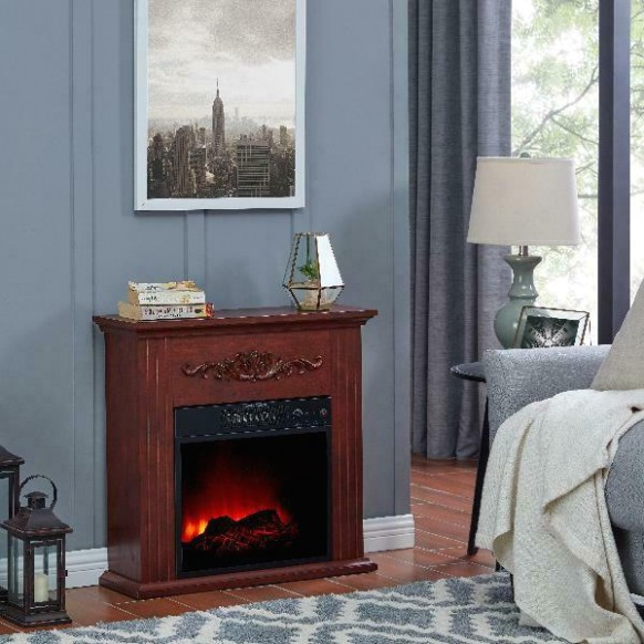 Electric Fireplace TV Stand Heater with Mantle Wood Living Room Bedroom NEW - living room heater   living room heater