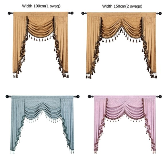 European Luxury Valances for Living Room Waterfall Valances for Kitchen  Modern Curtains for Living Room Swag Valances(Rod Pocket, 12 Piece) | Home - living room valances | living room valances
