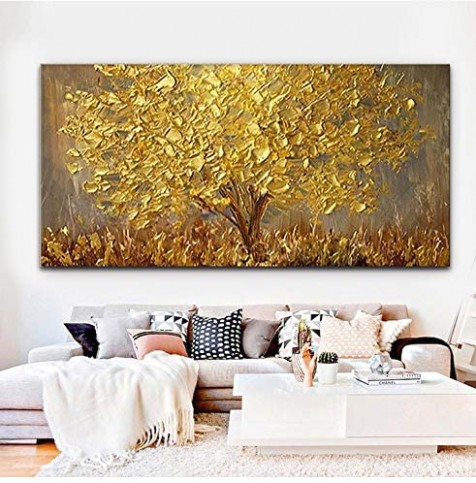 Faicai Art Thick Texture Gold Tree Paintings Canvas Wall Art Hand Oil  Canvas Paintings 16D Palette Knife Canvas Artwork Wall Decor for Living Room  .. | living room paintings