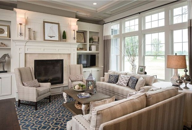 Family Room feels sophisticated and also very cozy, with its navy .. | living room 12x12
