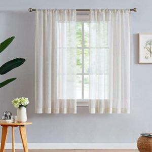 """Fmfunctex Linen-Blend Sheer Curtains for Living Room 15-inch Long Vintage  Flax Window Drapes for Farmhouse Bedroom Rod Pocket 15"""" Wide Set of 15 ... 