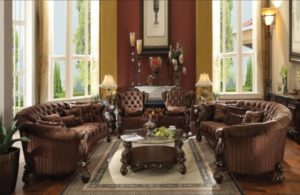 Formal Living Room Furniture 211 Sofa & 211 Chairs Set Cherry Finish Fabric  Tufted   living room 2 chairs