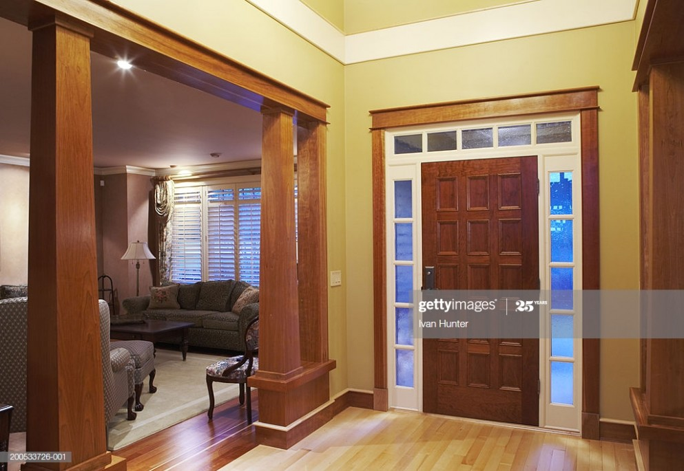 Front Doorway Entrance Hall And Living Room In House Dusk High-Res .. | living room entrance