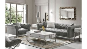 Gilmore Gray Linen Chesterfield Sofa | living room grey couch