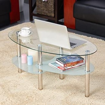 go19buy Oval Glass Coffee Table for Living Room Furniture Round Glass Top  Chrome Finish Metal Legs Clear - living room glass table   living room glass table