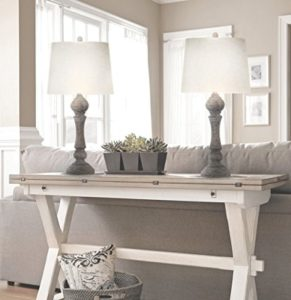 "Grandview Gallery 20"" Reclaimed Grey Table Lamps w/Linen Lamp Shades, Set  of Two, Farmhouse and Country Style 