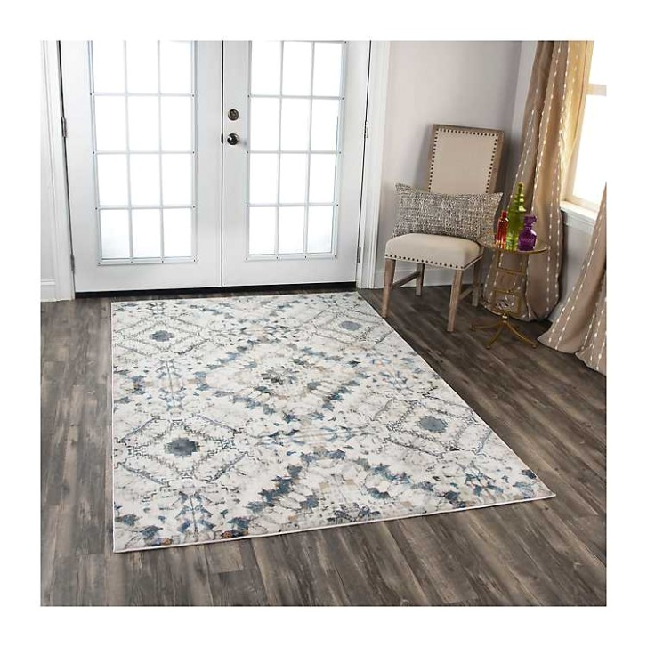 Gray and Ivory Brighton Geometric Area Rug, 21x21 | living room 8x10 rug