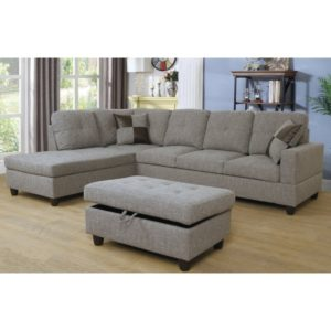 Gray Dubey Living Room Sectional with Ottoman | living room ottoman