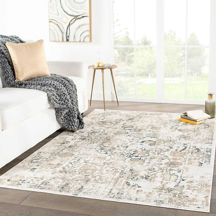 Gray Floral Margolette Area Rug, 15x15 - living room rugs 9x12 | living room rugs 9x12