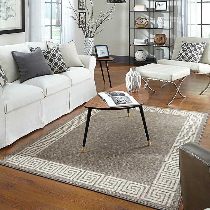 Gray Oceanus Greek Key Area Rug, 19x19 - living room 5x8 rug | living room 5x8 rug