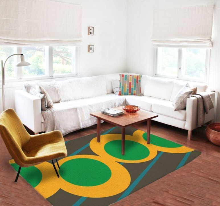 Green and yellow Rug - living room 5x8 rug | living room 5x8 rug
