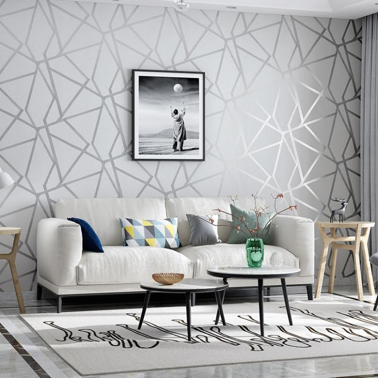 Grey Geometric Wallpaper For Living Room Bedroom Gray White Patterned  Modern Design Wall Paper Roll Home Decor Hd Wallpapers Best Hd Wallpapers  .. | living room wallpaper