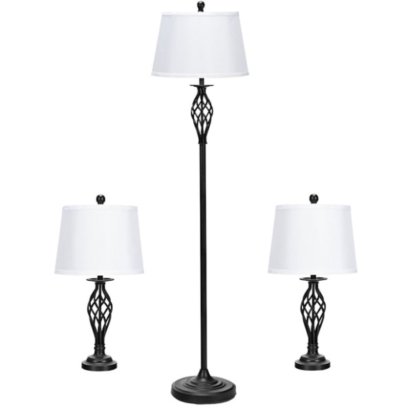 Gymax 199-Piece Lamp Set 199 Table Lamps 19 Floor Lamp Fabric Shades Living Room  Bedroom - living room lamps | living room lamps