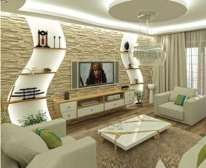 gypsum board tv wall design catalogue with LED lights for living ... | living room wall design