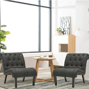 Haobo Armless Accent Chairs with Button Tufted for Living Room or Reception  Room (Set of 21) Livingroom Chair, Gray | living room 2 chairs