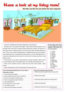Have a look at my living room! - English ESL Worksheets for ... | living room exercises