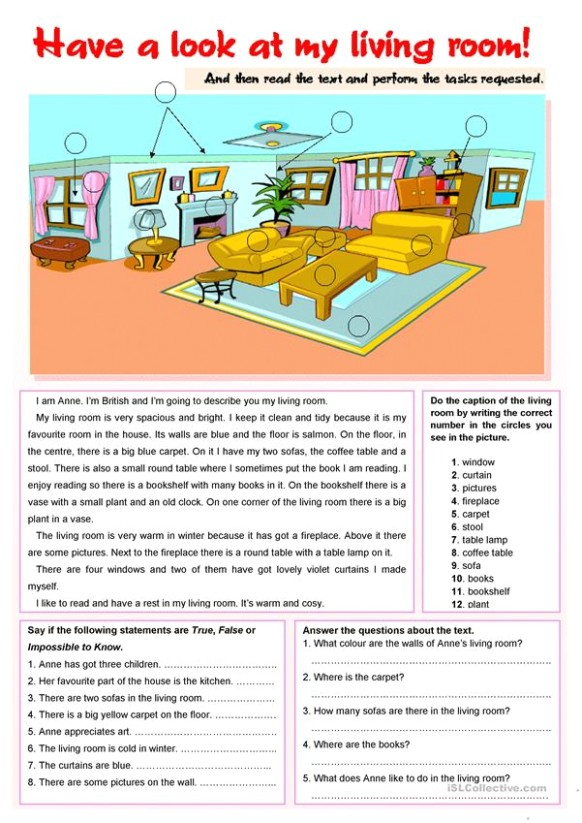 Have a look at my living room! - English ESL Worksheets for .. | living room exercises