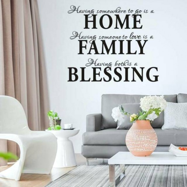 HOME FAMILY BLESSING Quotes Art Wall Stickers Living Room Bedroom Decals US  NEW - living room quotes   living room quotes