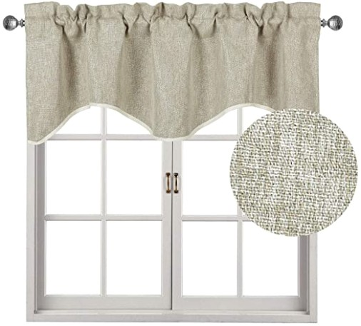 Home Queen Faux Linen Solid Curtain Valance Window Treatment for Living  Room, Short Straight Drape Traditional Style Valances, Set of 12, 12 X 128 .. | living room valances
