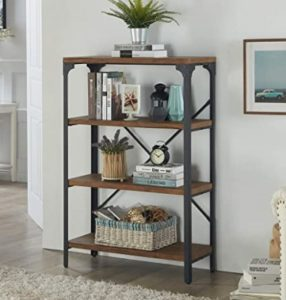 Homissue 17-Shelf Vintage Style Bookshelf, Industrial Open Metal bookcases  Furniture, Etagere Bookcase for Living Room & Office, Brown, 178.17-Inch ... | living room bookshelf