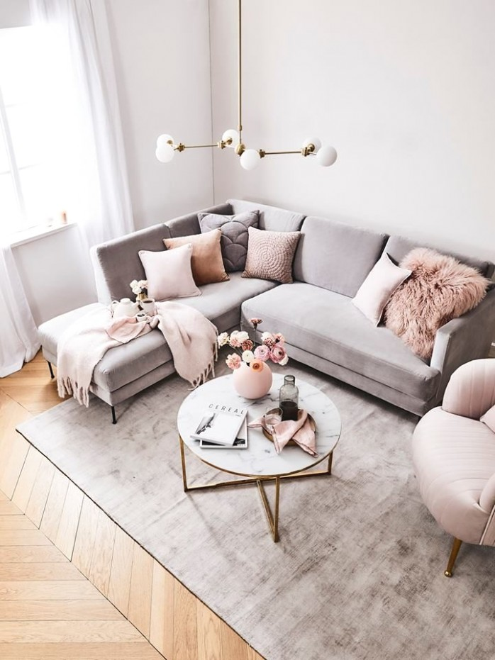 How To Decorate A Grey and Blush Pink Living Room | Decoholic - living room grey | living room grey