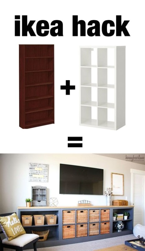 IKEA Hack: Expedit into Long Storage Unit | Home diy - living room storage | living room storage