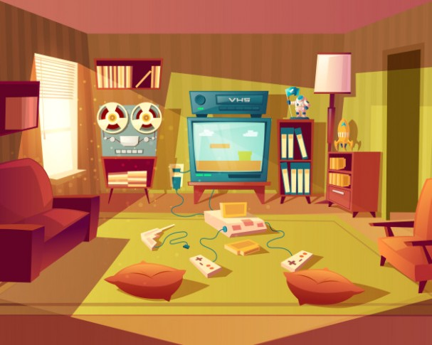 Illustration of cartoon living room at 11s, 11s. video games, vhs ... | living room cartoon