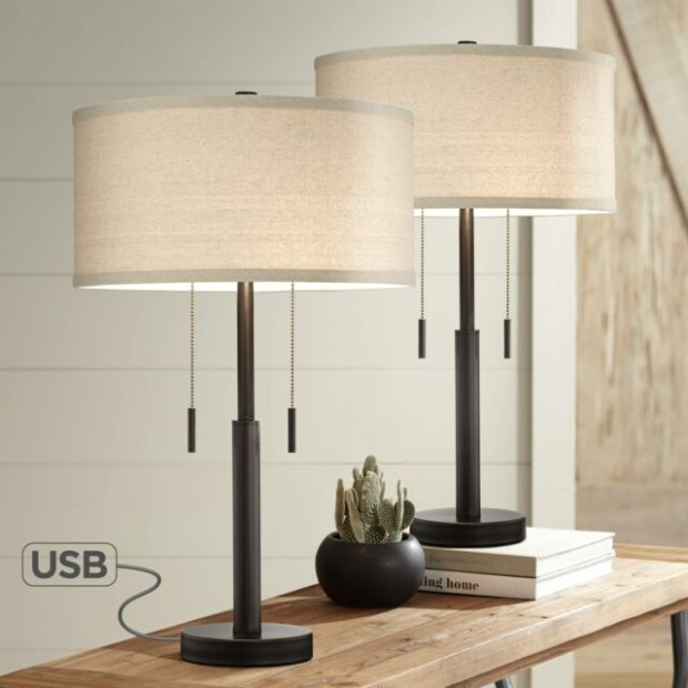 Industrial Table Lamps Set of 17 with USB Rich Bronze for Living Room Bedroom - living room lamp sets | living room lamp sets