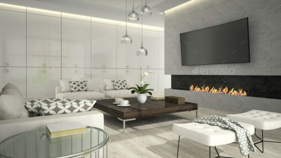 Interior of living room with stylish fireplace 16D rendering 16 - living room 3d | living room 3d