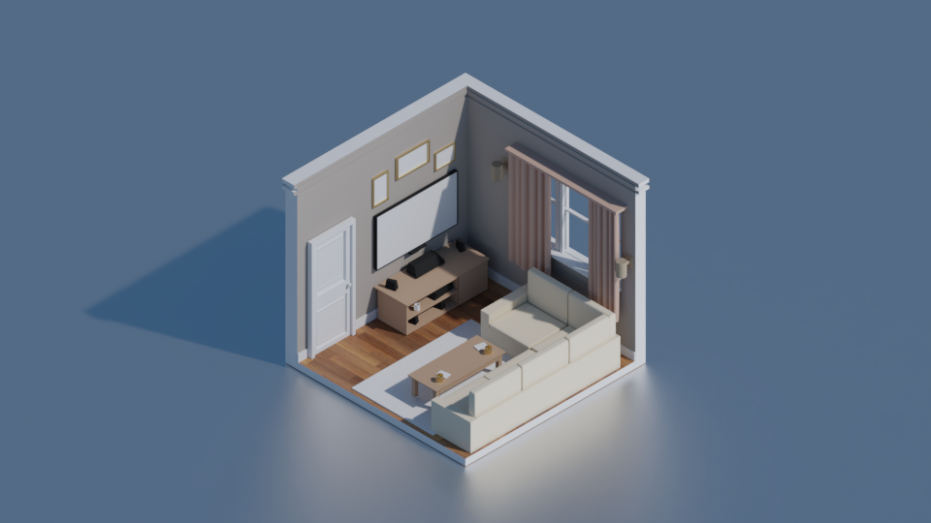 Isometric Living Room 16D Free 16D Model in Living Room 16DExport - living room 3d | living room 3d
