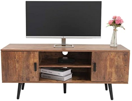 IWELL Mid-Century Modern TV Stand for Living Room, TV Console Storage  Cabinet, Retro Home Media Entertainment Center for Flat Screen TV Cable Box  .. | living room tv