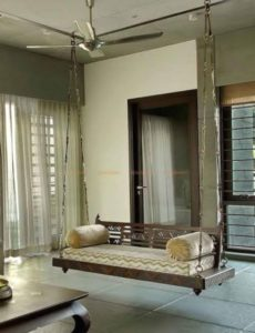 Jhoola for living room / Indian handmade love seat / wooden ceiling / swing  with metal chain | living room jhula