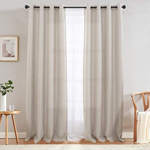 jinchan Curtains for Bedroom Linen Textured Room Darkening Drapes 20 inch  Long Living Room Curtain in Greyish Beige One Panel - living room curtains | living room curtains
