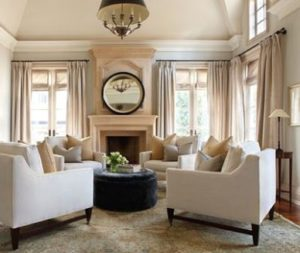 Julie Charbonneau - Circle of chairs. Formal living room, neutral ... | living room 4 chairs