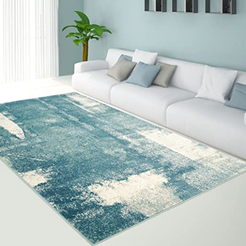"Ladole Rugs Teal Area Rug Living Room Bedroom Entrance Hallway for Dining  Patio Indoor Outdoor Aqua Water Blue Color (11115⭫1115"" x 1115⭫1115"") 1115 by 15 15x15 1115x15  .. 