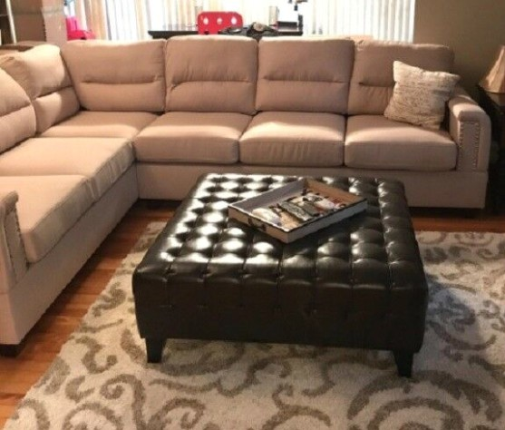 Large Bonded Faux Leather Ottoman Coffee Table Tufted Square Brown Living  Room - living room ottoman | living room ottoman