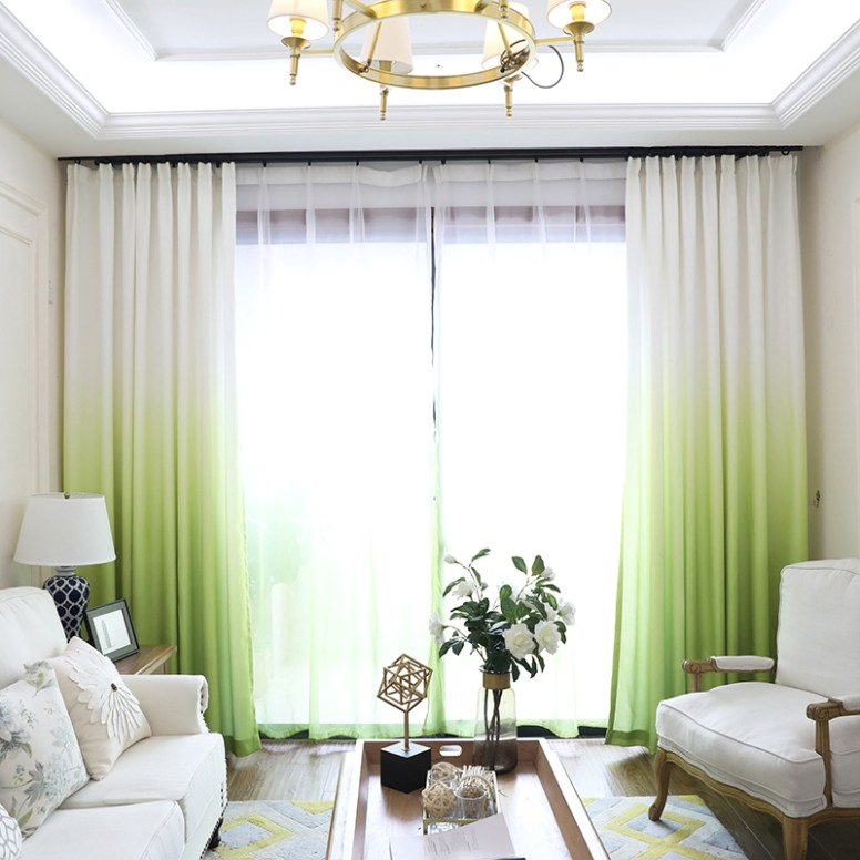 Lime Green Gradient Ombre Scandinavian Living Room Curtains With Sheer - living room curtains | living room curtains
