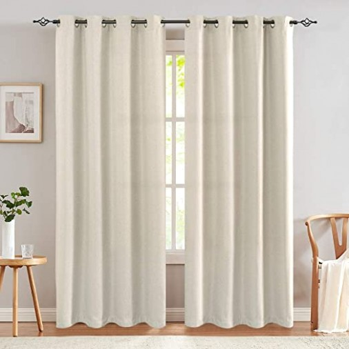 Linen Textured Curtains for Bedroom 200 inch Room Darkening Grommet Top  Window Curtains for Living Room Kitchen Drapes Greyish Beige 20 Panels - living room curtains | living room curtains