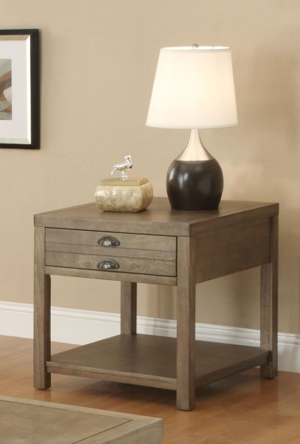 LIVING ROOM : INDUSTRIAL/RUSTIC OCCASIONAL TABLES - Occasional Group Casual  Light Oak End Table - living room end tables | living room end tables