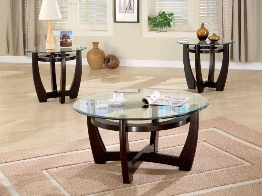 LIVING ROOM : OCCASIONAL SETS - Contemporary Cappuccino Three-Piece Round  Table Set - living room table sets | living room table sets