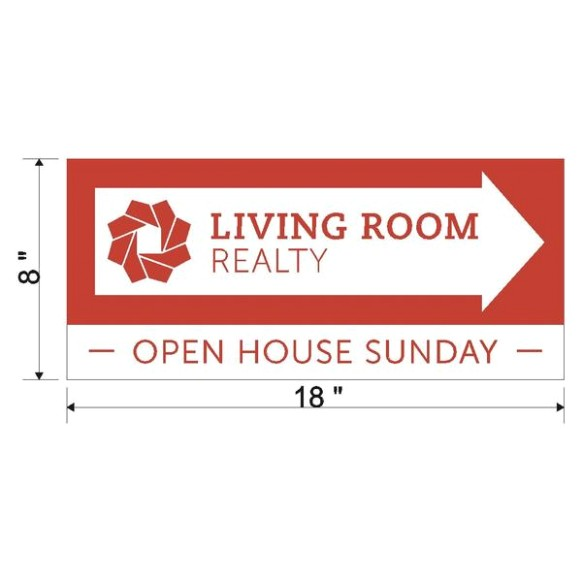 Living Room Open House Directional Sign - living room realty | living room realty