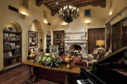 living room tuscan colors. Uplights in nitches. Sofa table display .. | living room uplighting