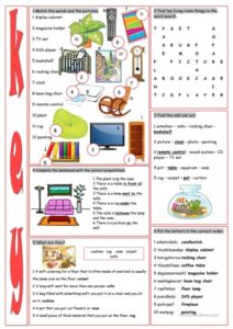Living Room Vocabulary Exercises - English ESL Worksheets for ... | living room exercises