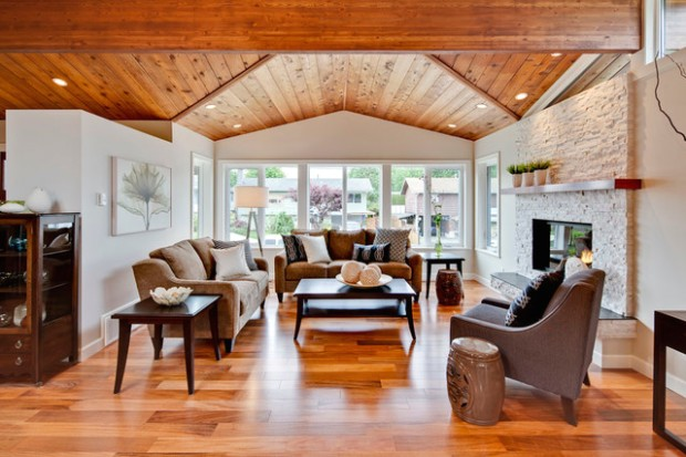 Living Room With Vaulted Wood Ceiling - Transitional - Living Room .. | living room vaulted ceiling