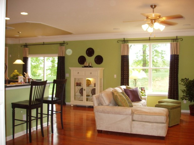 Livingroom with green walls - Eclectic - Living Room - Baltimore ..   living room green walls