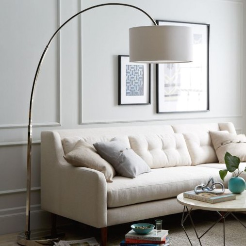 Love the idea of this Overarching Floor Lamp from west elm in a .. | living room lamps