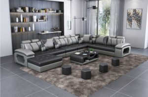 Luxury Modern U Shaped Leather Fabric Corner Sectional Sofa Set Design  Couches For Living Room With Ottoman | for living room